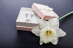 Sistema de joyería de la perla en caja de regalo con la flor Pendientes y anillo de plata con las perlas como presente para el dí Fotografía de archivo libre de regalías