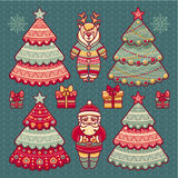 Sistema de juguetes de la Navidad del color Decoraciones del día de fiesta Fotografía de archivo