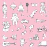 Sistema de juguetes dibujados mano Fotografía de archivo