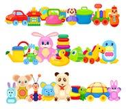 Sistema de juguetes divertidos de los niños en el fondo blanco ilustración del vector