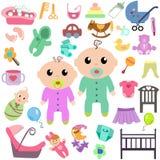 Sistema de juguetes y de ropa del bebé Imagen de archivo libre de regalías