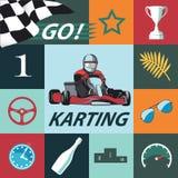 Sistema de Karting Infographic Diseño plano, vector Fotografía de archivo