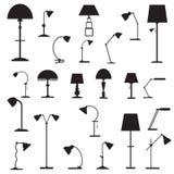 Sistema de lámparas de mesa de los iconos Foto de archivo libre de regalías