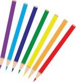 Sistema de lápices coloreados arco iris, objeto libre illustration