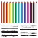 Sistema de lápices coloreados y sistema de cepillos Imagenes de archivo