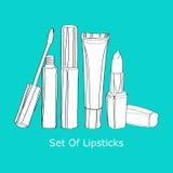 Sistema de lápices labiales Imágenes de archivo libres de regalías