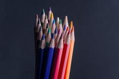 Sistema de lápices o de creyones coloreados coloridos multicolores Fotos de archivo libres de regalías