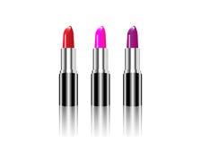 Sistema de lápiz labial de los colores, belleza del maquillaje, aislada Imagenes de archivo