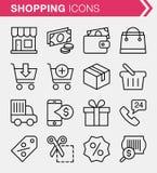 Sistema de línea fina comercio electrónico y de iconos de las compras Foto de archivo libre de regalías