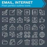 Sistema de línea fina correo electrónico y de iconos de Internet Foto de archivo libre de regalías
