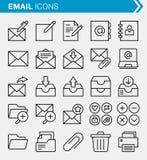 Sistema de línea fina correo electrónico y de iconos de Internet Fotos de archivo