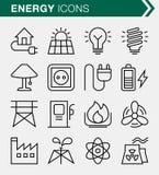 Sistema de línea fina energía y de iconos del poder Imagen de archivo libre de regalías