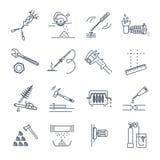 Sistema de línea fina herramientas de los iconos y de equipo, llave ajustable libre illustration