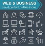 Sistema de línea fina web y de iconos del negocio Fotografía de archivo libre de regalías