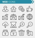 Sistema de línea fina web y de iconos del negocio Foto de archivo libre de regalías