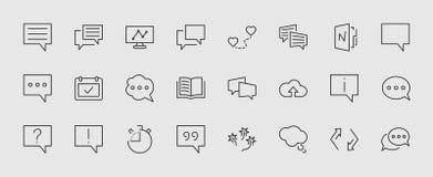 Sistema de líneas del vector de la charla de la burbuja del discurso de iconos Movimiento Editable pixeles 32x32 stock de ilustración