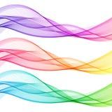 Sistema de líneas transparentes aisladas extracto colorido de la onda stock de ilustración