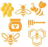 Sistema de la abeja y de la miel Foto de archivo libre de regalías