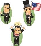 Sistema de la acción de la historieta de presidente Abraham Lincoln Imagen de archivo