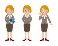 Sistema de la actitud de la mujer de negocios Foto de archivo