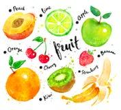 Sistema de la acuarela de fruta con las letras ilustración del vector