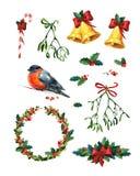 Sistema de la acuarela de la Navidad Imagenes de archivo