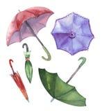 Sistema de la acuarela de paraguas Paraguas de una lluvia Fotografía de archivo libre de regalías