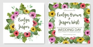 Sistema de la acuarela del vector de postales Plantilla del invitati de la boda ilustración del vector