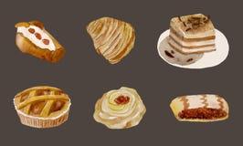 Sistema de la acuarela de dulces tradicionales italianos Seis postres sabrosos de Nápoles fotografía de archivo