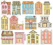 Sistema de la acuarela de edificios lindos de la ciudad de la historieta stock de ilustración