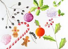 Sistema de la acuarela de elementos de la Navidad imagen de archivo
