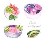 Sistema de la acuarela de los cuencos, comida sana ilustración del vector