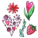 Sistema de la acuarela de los elementos para el día del ` s de la tarjeta del día de San Valentín stock de ilustración