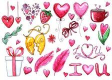 Sistema de la acuarela de los elementos para el día del ` s de la tarjeta del día de San Valentín