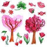 Sistema de la acuarela de los elementos para el día del ` s de la tarjeta del día de San Valentín libre illustration
