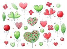 Sistema de la acuarela de los elementos para el día del ` s de la tarjeta del día de San Valentín Aislado en el fondo blanco ilustración del vector