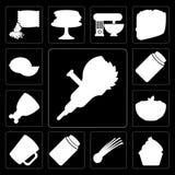Sistema de la amoladora, magdalena, cebolletas, salmueras, taza, pastas, jamón, atasco, ilustración del vector