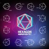 Sistema de la animación del hexágono del vector Imagen de archivo libre de regalías