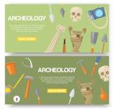 Sistema de la arqueología del ejemplo del vector de las banderas Herramientas arqueológicas, diseño antiguo de la página web de l stock de ilustración