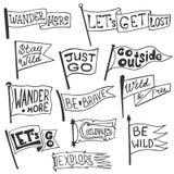 Sistema de la aventura, al aire libre, banderines que acampan Etiquetas monocromáticas retras Estilo dibujado mano de la pasión p Libre Illustration