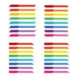 Sistema de la bandera colorida de la etiqueta del arco iris para la decoración del jefe Fotos de archivo