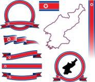 Sistema de la bandera de Corea del Norte  Imagen de archivo libre de regalías