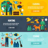 Sistema de la bandera de Hunting And Farmer del pescador stock de ilustración