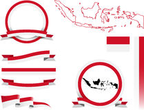 Sistema de la bandera de Indonesia Imagen de archivo libre de regalías