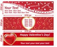 Sistema de la bandera de la cartelera del web del día de tarjeta del día de San Valentín libre illustration