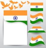 Sistema de la bandera de la India con la paloma del vuelo Fotos de archivo libres de regalías