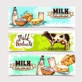 Sistema de la bandera de los productos lácteos ilustración del vector