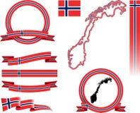 Sistema de la bandera de Noruega Imágenes de archivo libres de regalías