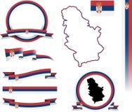 Sistema de la bandera de Serbia Foto de archivo libre de regalías