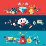 Sistema de la bandera del casino Imágenes de archivo libres de regalías